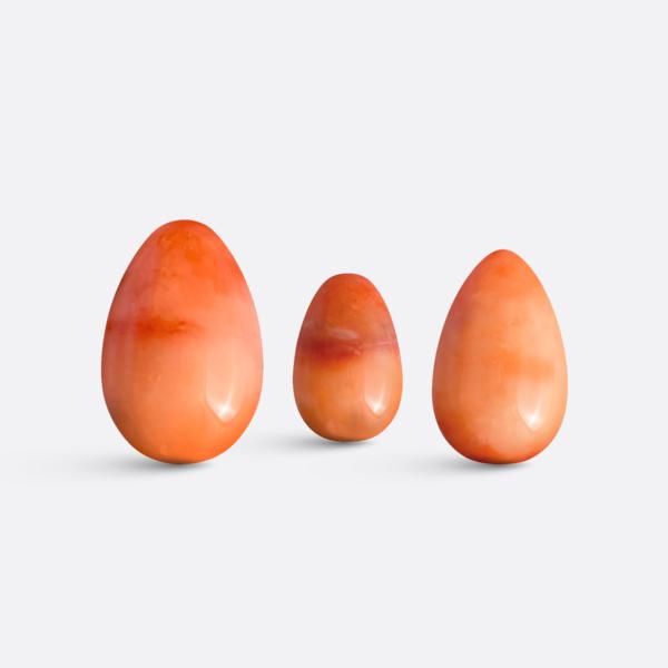 Yoni vajíčka - sada 3 ks / červený jadeit / 2. jakost