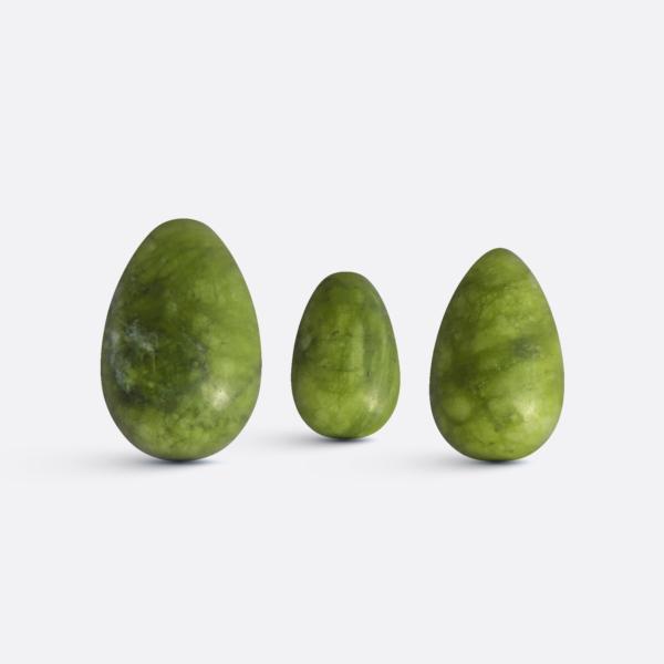 Yoni vajíčka - sada 3 ks / tmavý jadeit